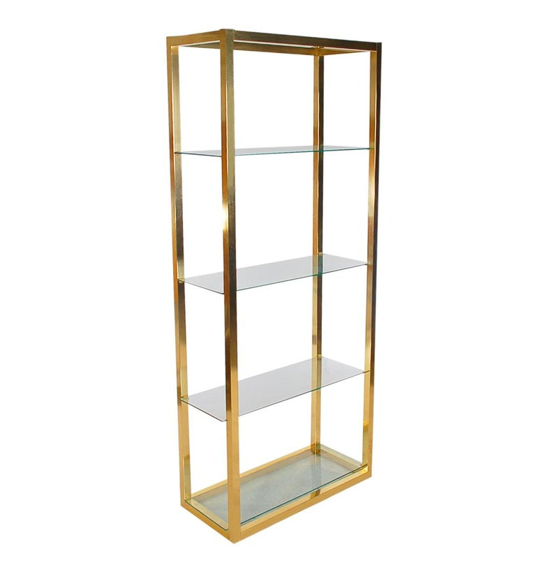 Late 20th Century Hollywood Regency Modern Brass and Glass Étagère, Wall Unit or Shelving Unit For Sale