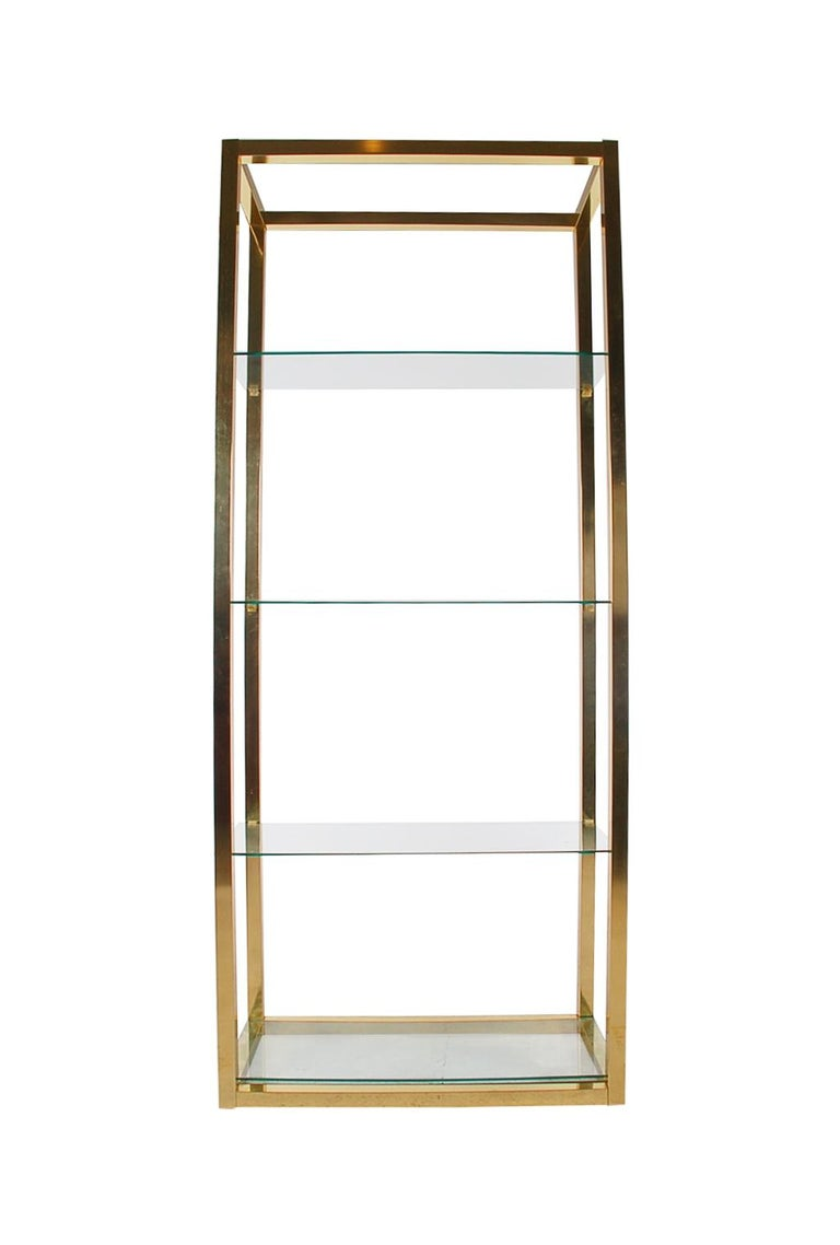Hollywood Regency Modern Brass and Glass Étagère, Wall Unit or Shelving Unit For Sale 1
