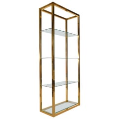 Hollywood Regency Modern Brass and Glass Étagère, Wall Unit or Shelving Unit