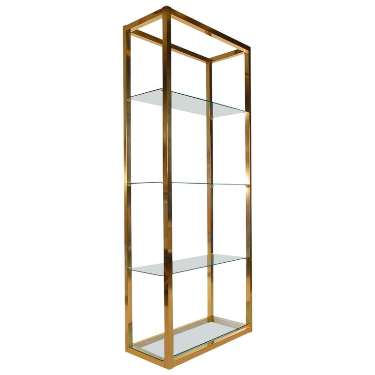 Hollywood Regency Modern Brass and Glass Étagère, Wall Unit or Shelving Unit For Sale