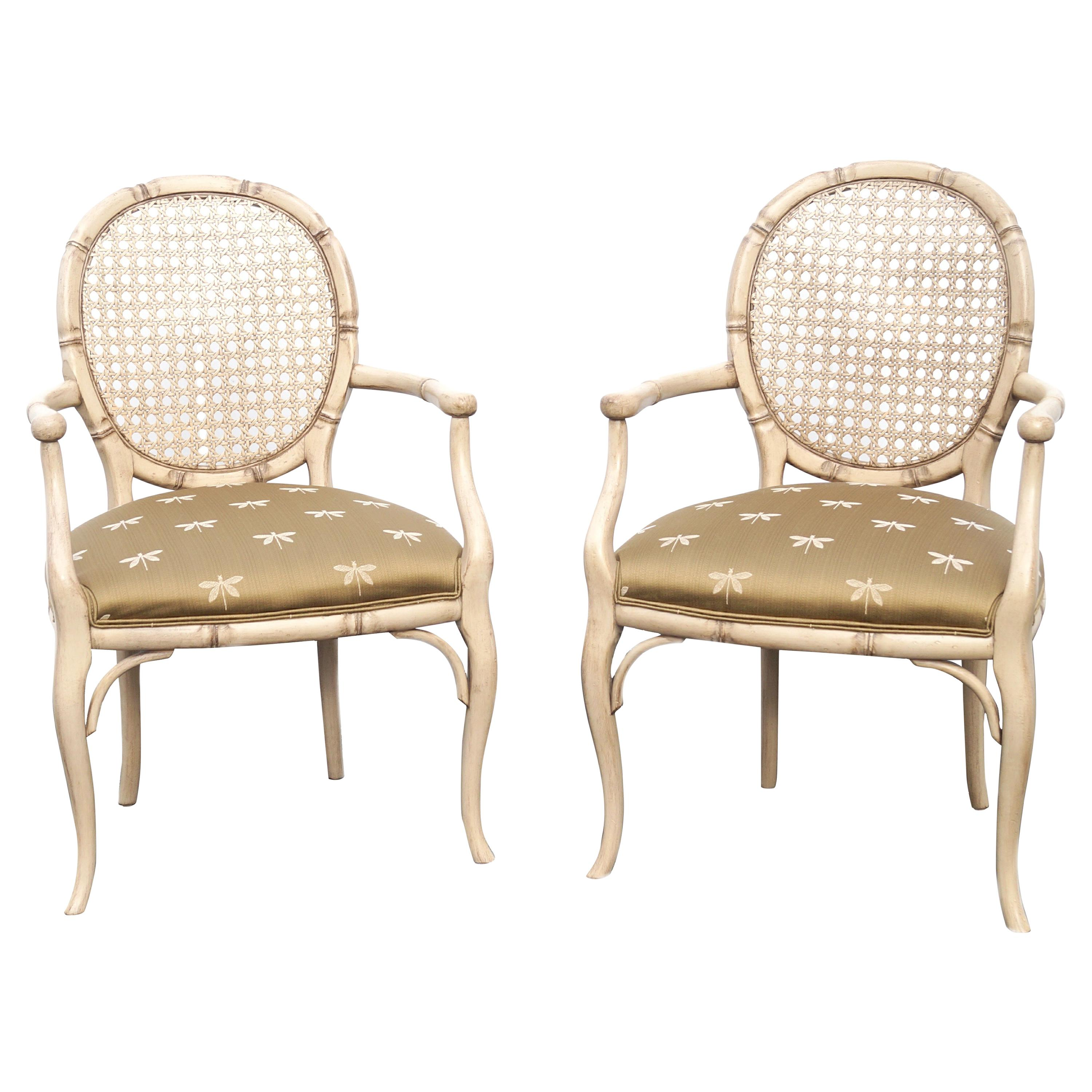 Hollywood Regency Modern French Style Cane Back Pair of Chairs