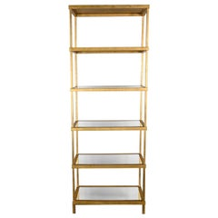 Hollywood Regency Modern Gold Chelsea House Tall Etagere with Mirrored Shelves