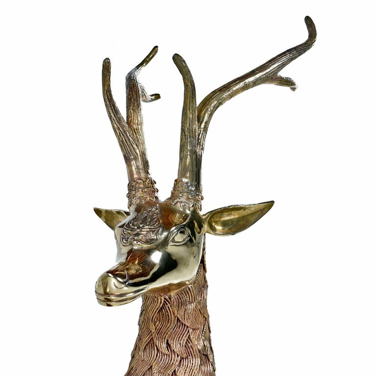 Late 20th Century Hollywood Regency Monumental 1970s Decorative Seated Brass Deer by Sarreid Ltd For Sale