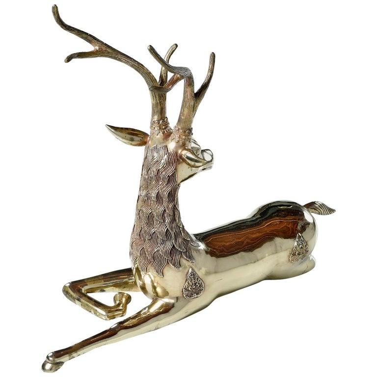 Hollywood Regency Monumental 1970s Decorative Seated Brass Deer by Sarreid Ltd For Sale