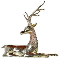 Hollywood Regency Monumental 1970s Decorative Seated Brass Deer by Sarreid Ltd.