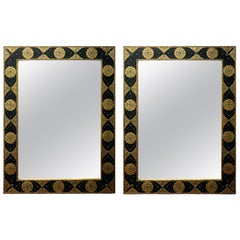 Hollywood Regency Moroccan Mirror with Filigree Brass Inlay on Ebony, a Pair