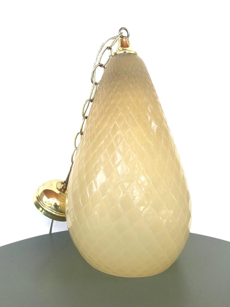Hollywood Regency Moroccan Style Murano Glass Pendant in Beige Italy circa 1960s For Sale 4