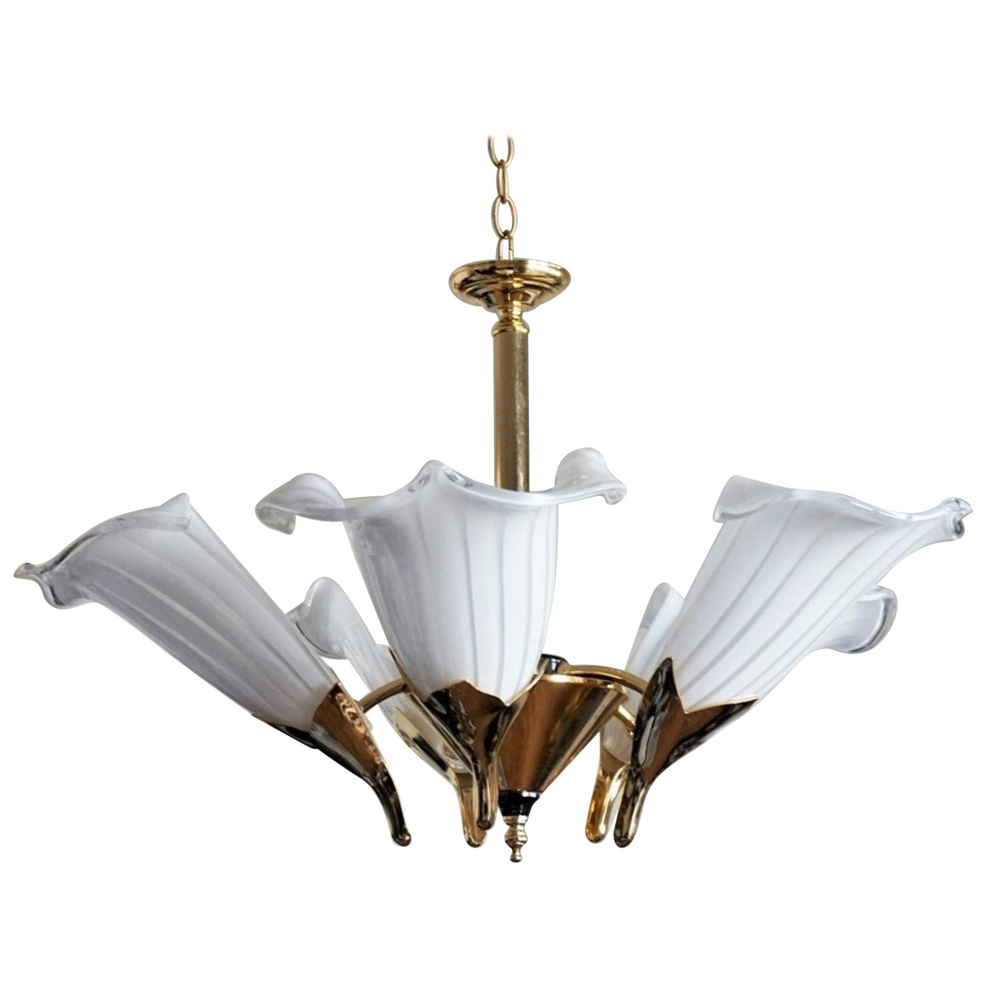 Art Deco Murao Glass Calla Lily Chandelier by Franco Luce, Italy 1970s