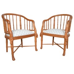 Hollywood Regency Napoleon Style Faux Bamboo Barrel Back Chairs in Teak