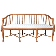 Hollywood Regency Napoleon Style Faux Bamboo Windsor Barrel Back Sofa in Teak