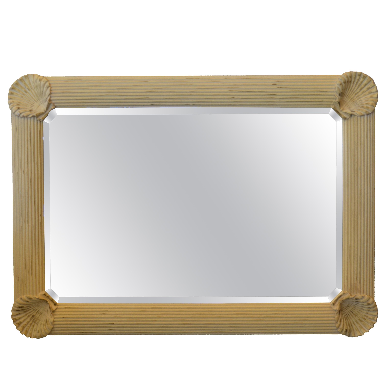 Hollywood Regency Nautical Wooden Rectangular Tan Seashell Beveled Wall Mirror