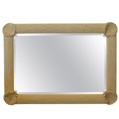 Hollywood Regency Nautical Wooden Rectangular Tan Seashell Beveled Wall Mirror