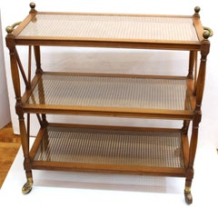 Hollywood Regency Neoclassical Style Bar Cart with Three Tiers
