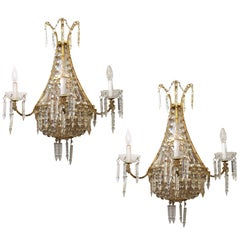 Hollywood Regency Neoclassical Style Crystal Wall Sconces