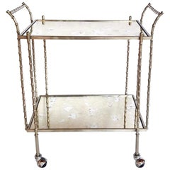 Hollywood Regency Nickeled Brass Bar Cart by Maison Baguès, 1960s