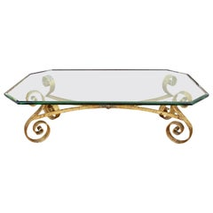 Hollywood Regency Octagonal Beveled Glass Top Coffee Table with Gilt Base
