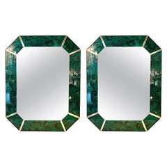 Hollywood Regency Octagonal Wall Mirrors Antiqued Malachite Style