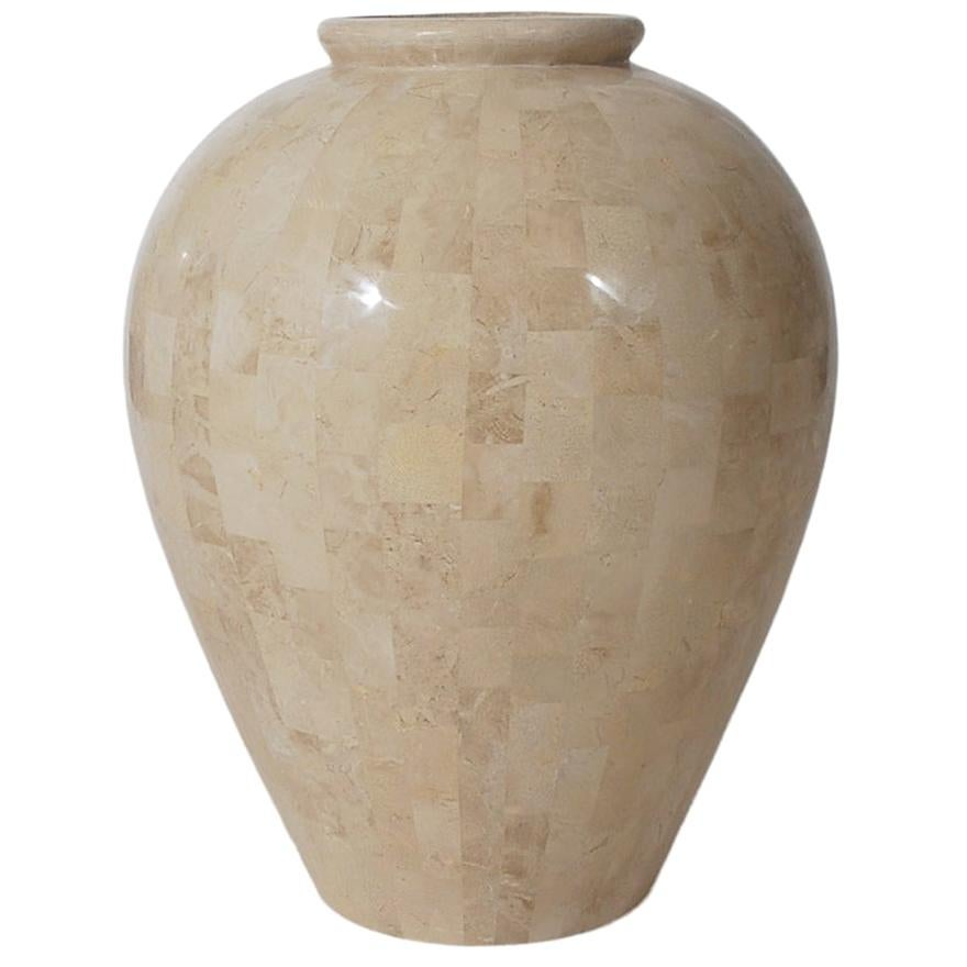 Hollywood Regency Off-White Tessellated Stone or Marble Large Scale Floor Vase