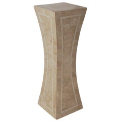 Hollywood Regency Off-White Tessellated Stone or Marble Tall Display Pedestal