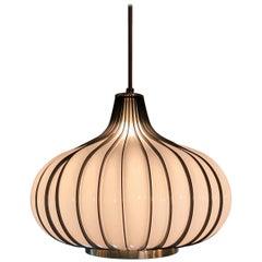 Hollywood Regency Onion Shape Milk Glass Swag Pendant Light