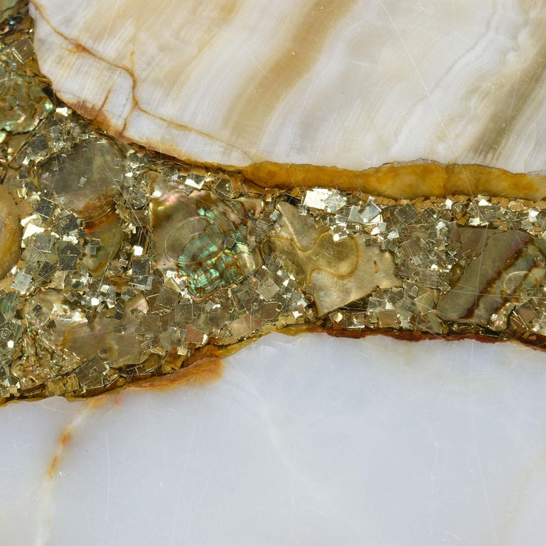 Mid-20th Century Hollywood Regency Onyx Abalone Shell Gold Glitter Arturo Pani Coffee Table For Sale