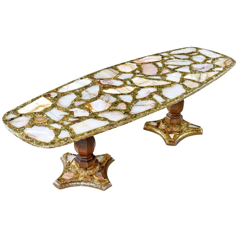 Hollywood Regency Onyx Abalone Shell Gold Glitter Arturo Pani Coffee Table For Sale
