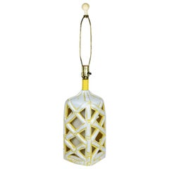 Hollywood Regency or Chinoiserie Ceramic Faux Bamboo Lamp in Yellow and White