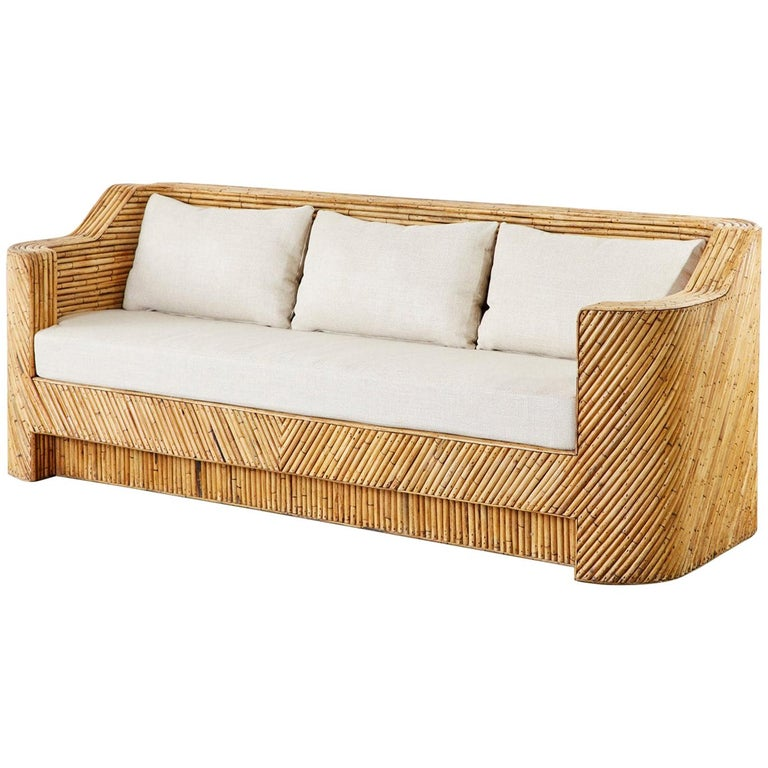 Hollywood Regency Organic Modern Bamboo Rattan Sofa For Sale