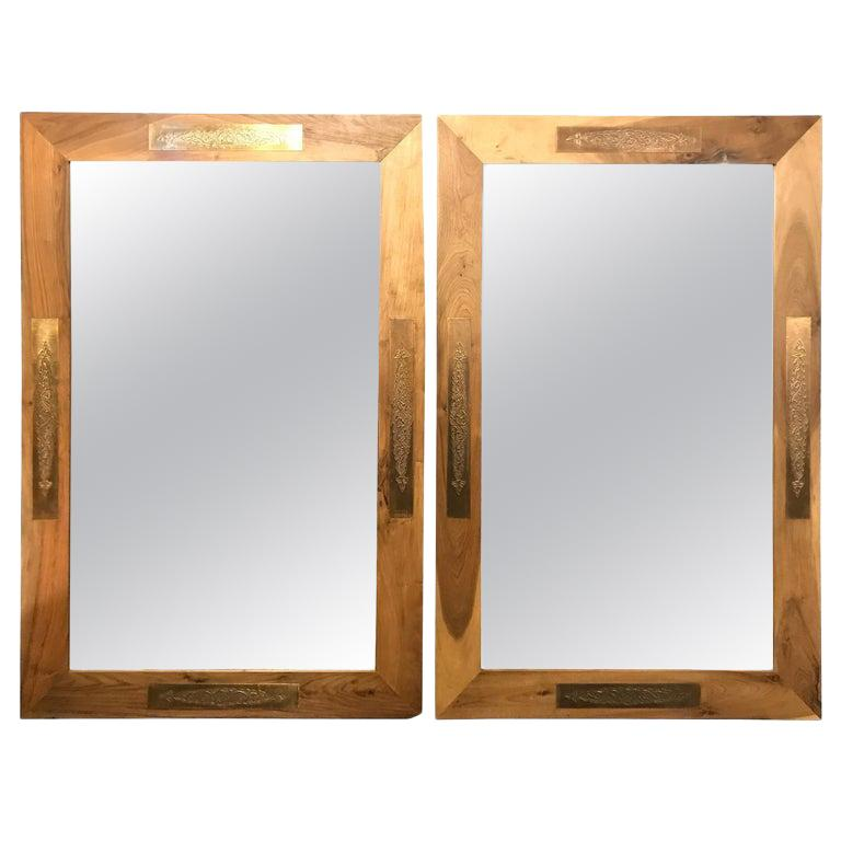 Hollywood Regency Organic Style Walnut Wall or Console or Pier Mirror, a Pair