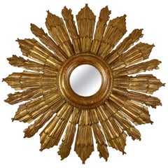 Hollywood Regency Oversized French Giltwood and Gesso Sunburst Wall Mirror
