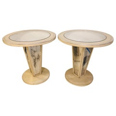Hollywood Regency Paint Decorated Mirrored Side, End or Lamp Tables, a Pair