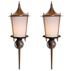 Hollywood regency pair of brass sconces by Maison Arlus, 1970s