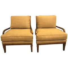 Hollywood Regency Pair of Burlap Faux Marbleized Bergère or Armchairs