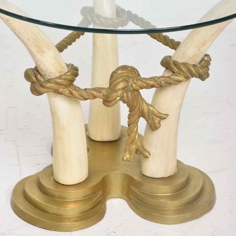 Spanish Hollywood Regency Pair of Side Tables Faux Ivory and Bronze by Valenti, Spain For Sale