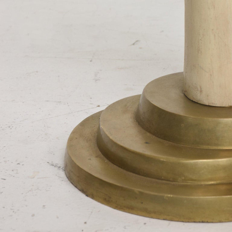 Hollywood Regency Pair of Side Tables Faux Ivory and Bronze by Valenti, Spain For Sale 1