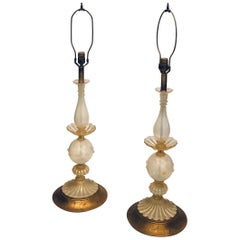 Hollywood Regency Pair of Tall Murano Lamps with Gold Leaf Bases