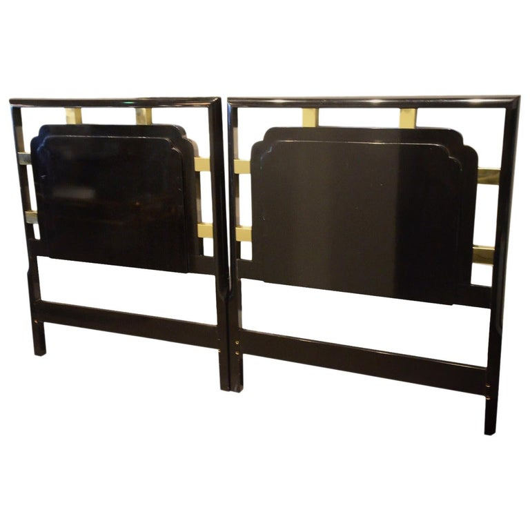 Hollywood Regency Pair of Twin Gilt Metal and Lacquered Black Wood Headboards For Sale