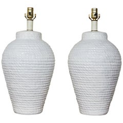 Hollywood Regency Pair of White Rope Urn Lamps