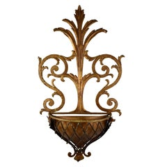 Hollywood Regency Palm Beach Estate Gilded Iron and Copper Wall Planter