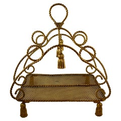 Hollywood Regency Palm Beach Estate Tassel and Rope Gilded Metal Magazine Rack