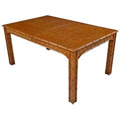 Hollywood Regency Parsons Style Herringbone Rattan Basket Weave Dining Table