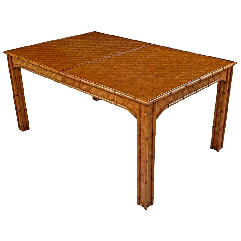 Hollywood Regency Parsons Style Herringbone Rattan Basket Weave Dining Table For Sale