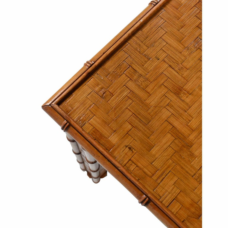 American Hollywood Regency Parsons Style Herringbone Rattan Basket Weave Dining Table For Sale