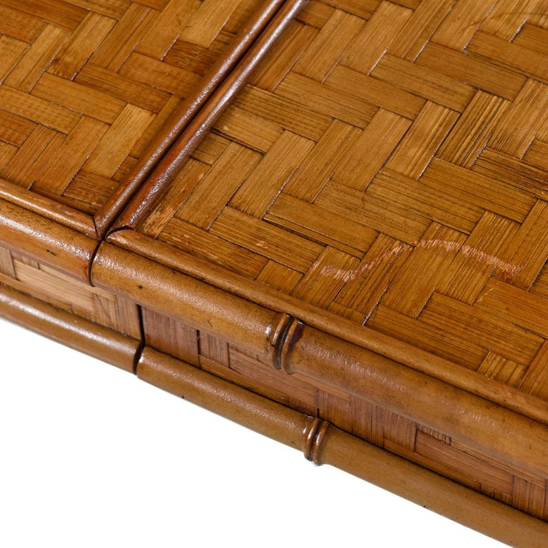 Late 20th Century Hollywood Regency Parsons Style Herringbone Rattan Basket Weave Dining Table For Sale