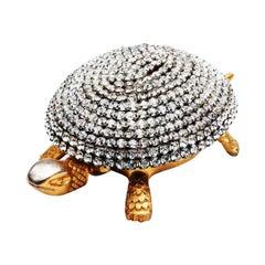 Hollywood Regency Paste Crystal Diamond and Gold Toledo Tortoise Bell
