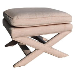 Hollywood Regency Pastel Pink and Peach X-Bench after Milo Baughman