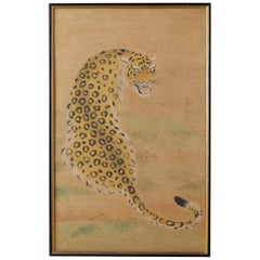 Hollywood Regency Period Japanese Leopard Painting from Bloomingdale's