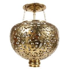 Hollywood Regency Pierced Filigree Brass Asian Chandelier