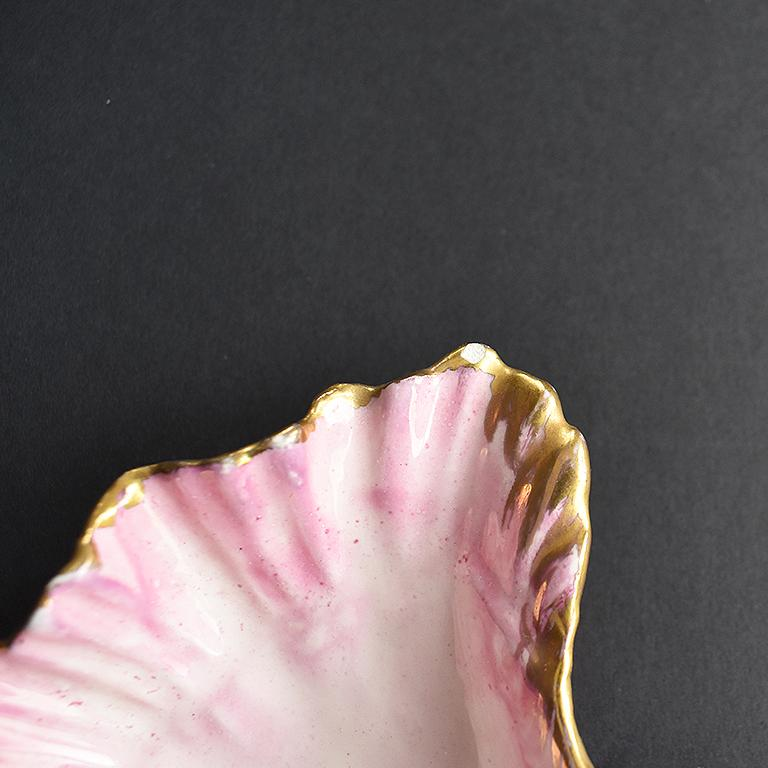 Hollywood Regency Pink Pearlized Ceramic Clam Shell Decorative Dish Catchall 1