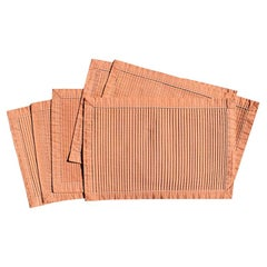 Hollywood Regency Pink Pleated Rectangular Placemats, Set of 6
